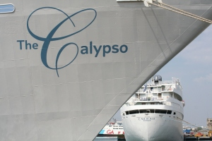 "The Calypso with the great old lady ""The Emerald\"" behind her"